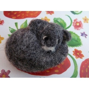 Tiny needle felted dog miniature made from wool