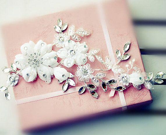 Bridal Hairpiece Elegant Bride White Flowery by Jewellery4Her