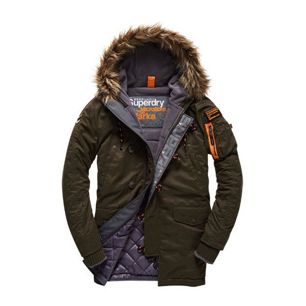 Superdry Microfibre Parka Coat (1 365 SEK) ❤ liked on Polyvore featuring men's fashion, men's clothing, men's outerwear, men's coats, green, mens green parka, mens military parka, mens hooded parka, mens parka and mens quilted coat