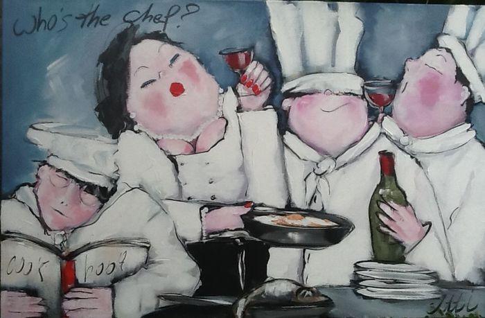 Who's the chef? - nieuw werk, gesigneerd Atti (Antonita van Hoof) - inspiratie: dikke dames en eettaferelen Schilderij op doek, houten frame 115 x 75 cm  Meerdere lagen acrylverf gevernist - 115 x 75 cm