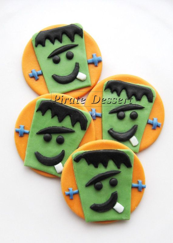 edible halloween cupcake toppers frankenstein fondant cake decorations halloween cupcakes 6 pieces - Edible Halloween Decorations