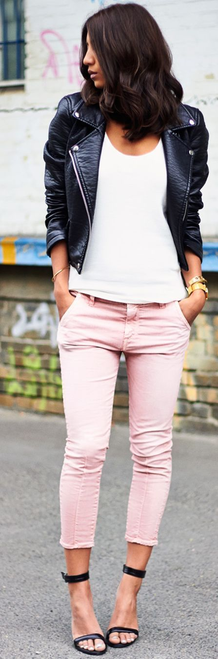 stunning outfits with light pink pants shoes