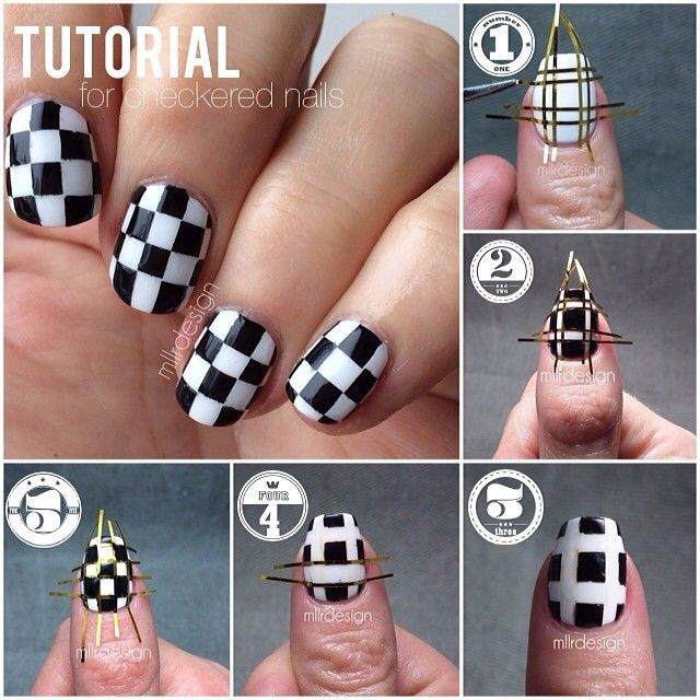 majsransstuff:  Some of you lovely girls asked for a tutorial on my checkered nails, so I tried to put one together. All the details and mor...