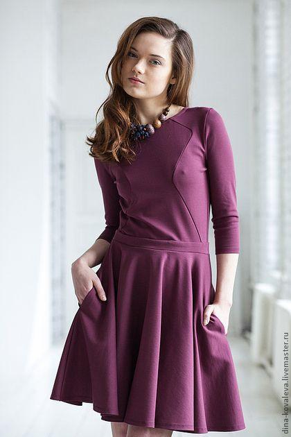 Платья ручной работы. Ярмарка Мастеров - ручная работа. Купить Вишневое платье. Handmade. Бордовый, вишневый, пышная юбка, карманы