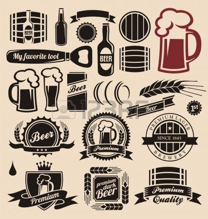 Icônes de bière, étiquettes, enseignes, dessins et éléments de conception de logo Banque d'images                                                                                                                                                     Plus