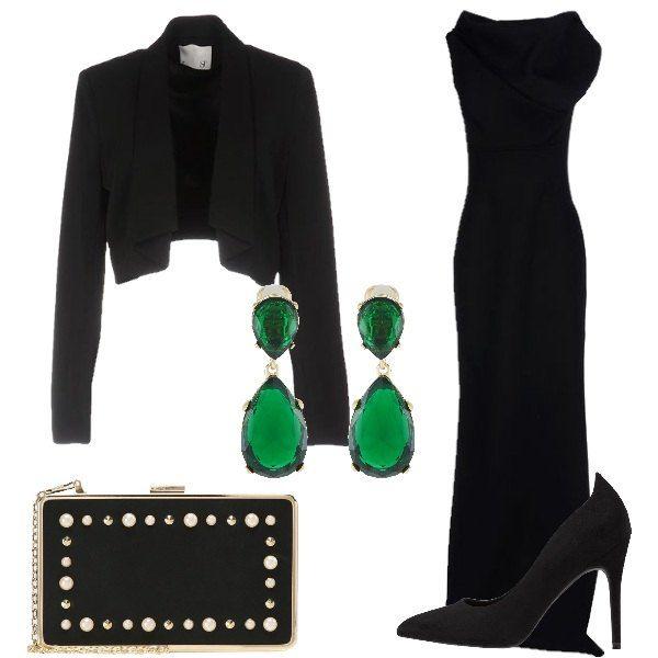 sale retailer 38002 ee7ae Look elegante, composto da una giacca corta nera con collo ...