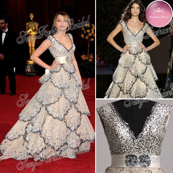 prix ocars miley cyrus col v paillettes perles accentués une ligne zuhair murad robes de soirée célébrité