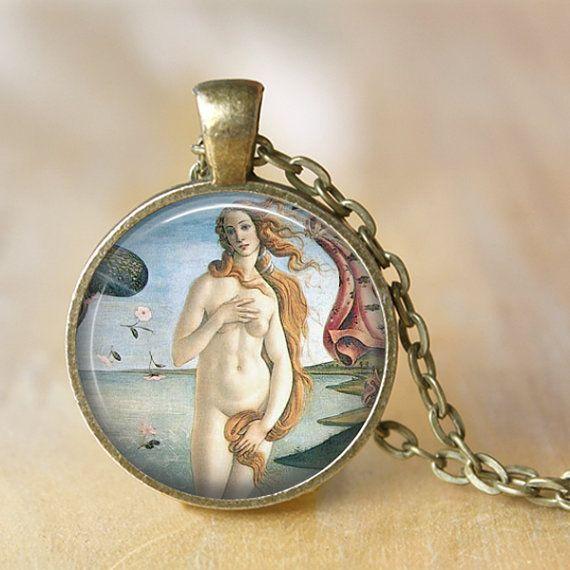 Birth of Venus Pendant Necklace Renaissance by LiteraryArtPrints
