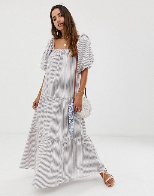 157010dfc6 DESIGN tiered maxi dress in stripe with puff sleeve in 2019 | Summer ...
