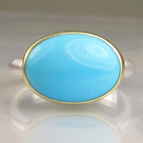 Sleeping Beauty Turquoise Ring  18k Gold an by JanishJewels