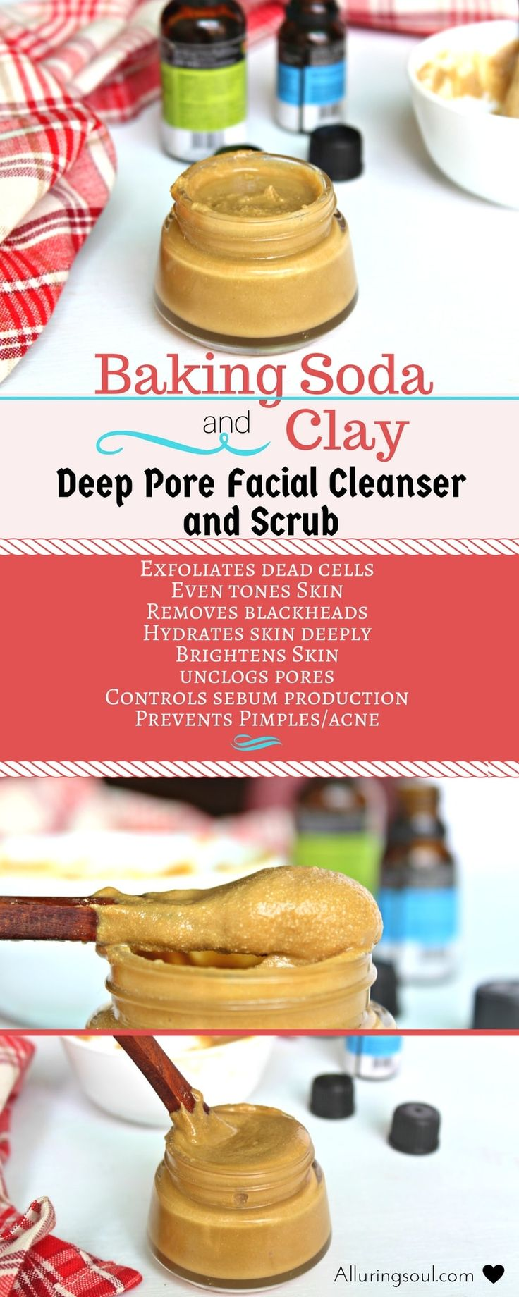 Baking soda and clay facial cleanser will provide essential nutrients to your skin and help heal your skin woes. It treats and heals acne, blackheads, removes scars and blemishes, brightens skin, exfoliates dead cells and makes it hydrated.