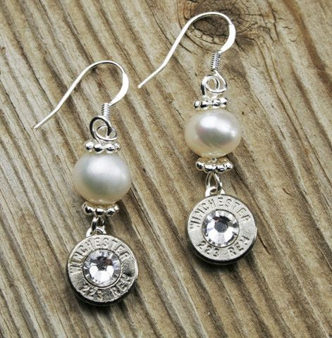 Nickel and Pearl Dangle Bullet Earrings