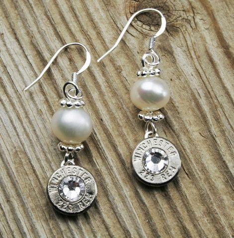 Nickel and Pearl Dangle Bullet Earrings