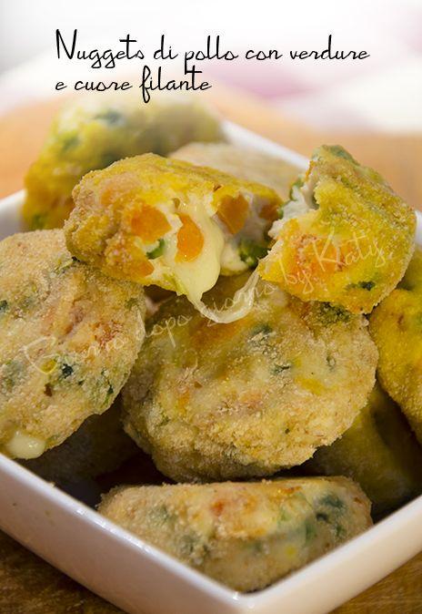 Nuggets di pollo con verdure e cuore filante