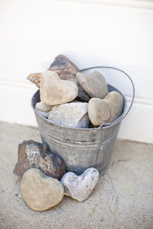 collect heart shaped rocks - we already collect these so like the idea of putting them in a bucket for display!