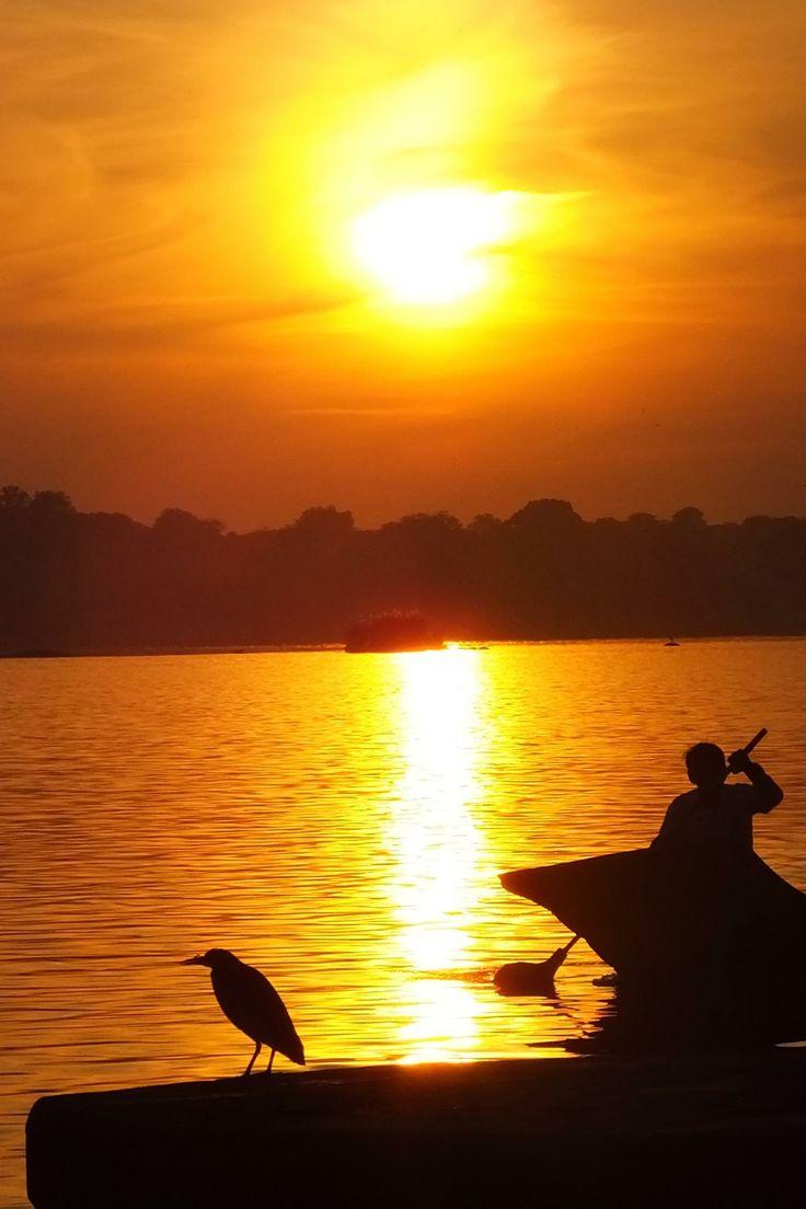 Sunset at Maheshwar over Narmada river . India