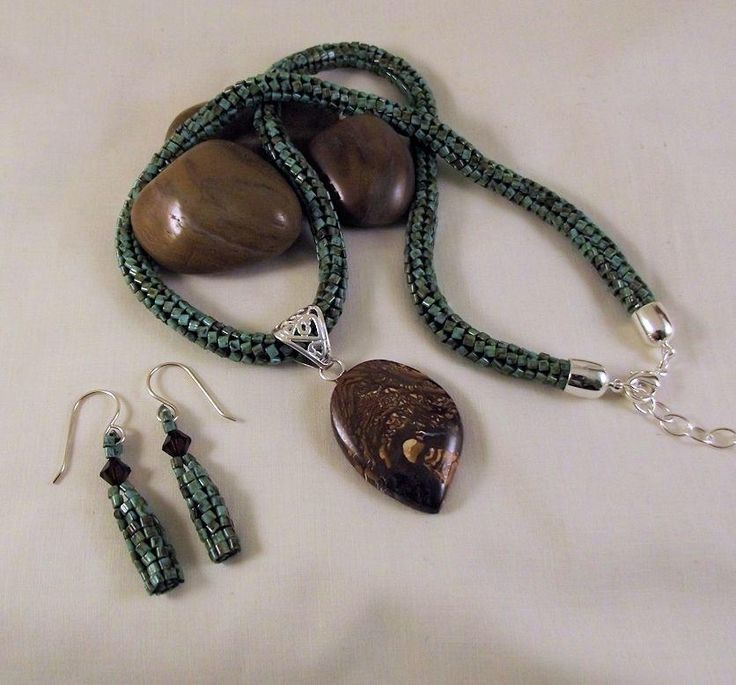 Beaded Herringbone Turquoise Picasso Necklace with Boulder Opal Pendant by Cheryl Lojewski
