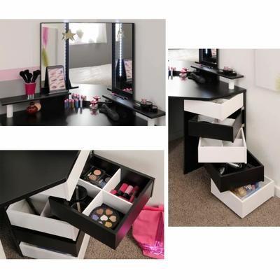 Panneaux de particules décor noir et blanc - L 114 x P 61 x H 142 cm - 5 tiroirs pivotants, 3 tablettes, miroir avec LEDs