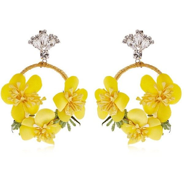Vanina Women The Douma Garden Hoop Earrings ($260) ❤ liked on Polyvore featuring jewelry, earrings, yellow, earring jewelry, hoop earrings, cord jewelry, swarovski crystal hoop earrings and yellow earrings