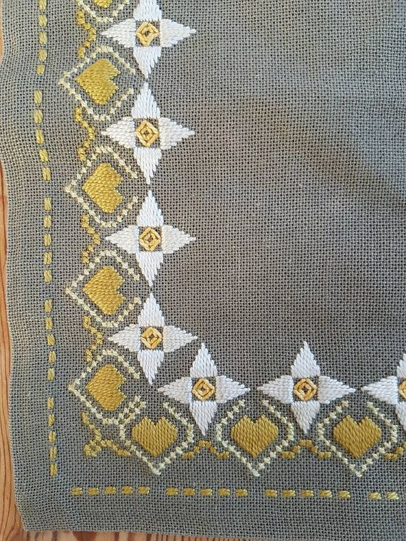 Beautiful grey floral embroidered tablecloth/dolly in linen