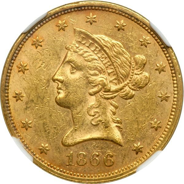 1866 $10 Liberty. With motto. NGC MS60 Normal amount of bag marks for the grade. Lightly toned. 3,750 pieces struck. An insignificant number of With Motto Eagles were coined at Philadelphia this year. Due to the large circulation of fiat paper money (greenbacks) used to finance the North's armies during the American Civil War, Gresham's famous dictum or law began to work its effects on the Eastern Seaboard. The bad money -- in this case, the greenbacks -- drove the good money, gold and…