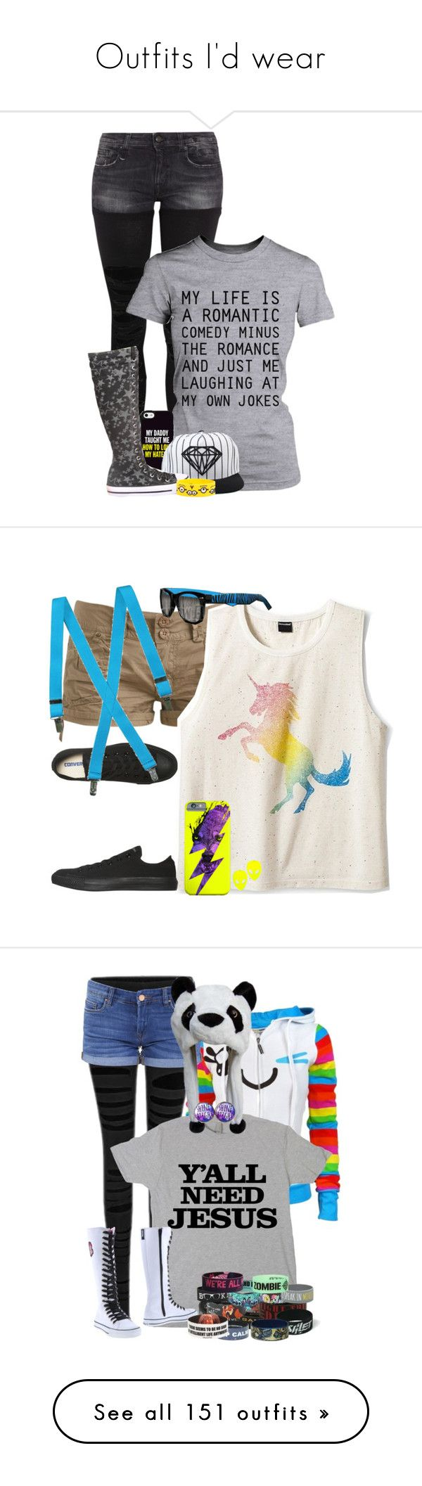"""Outfits I'd wear"" by the-l0st-girl ❤ liked on Polyvore featuring ThisIsMeTheDJ, R13, Diamond Supply Co., Wet Seal, Converse, Hollywood Mirror, BLANKNYC, Cover Your Bones, Disney and My Little Pony"
