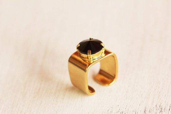 King's Ring. Black Swarovski Crystal ring, gold ring, geometric ring, fashion ring.   #Swarovski @Swarovski