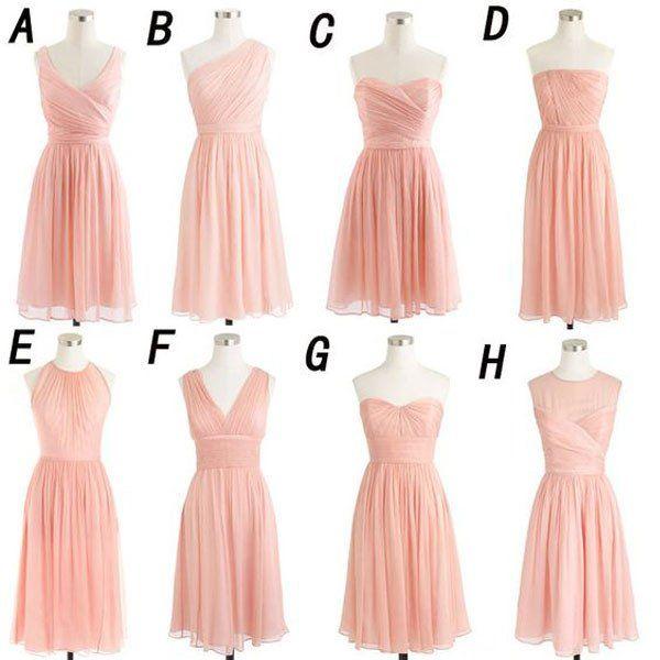 Blush Pink Chiffon Summer Wedding Bridesmaid Dresses,Simple Short Cheap Bridesmaid Gowns,apd1700