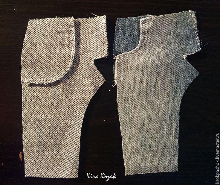 Сегодня предлагаю вам свой вариант пошива кукольных джинс. Для работы нам потребуется: джинсовая ткань (старые джинсы), хлопок для карманов, выкройка, ножницы, нитки для шитья в тон ткани, нитки контрастного цвета 100ЛЛ для отделки, маленькая пришивная кнопка, маленькая пуговка, подвеска для украшения (по желанию). Так же понадобится пемза и Доместос или Белизна. Выкройка.