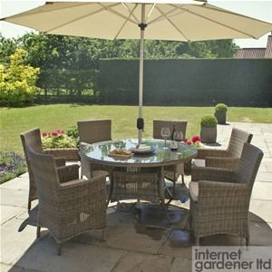 Maze Rattan Winchester Round 6 Seat Garden Furniture Set