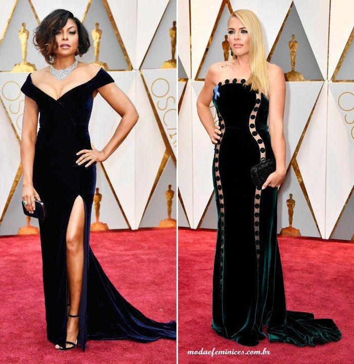 Taraj P. Henson de vestido de veludo Alberta Ferretti e Busy Phillips de vestido de veludo Elizabeth Kennedy  - Os looks do Oscar 2017 - Red Carpet - Moda & Feminices