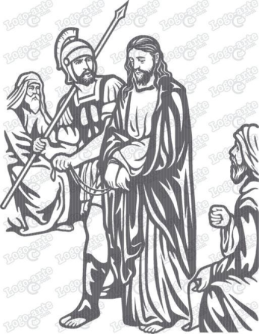 Imagen vectorial de la primera estación tradicional del Viacrucis: Jesús es condenado por el Sanedrín.