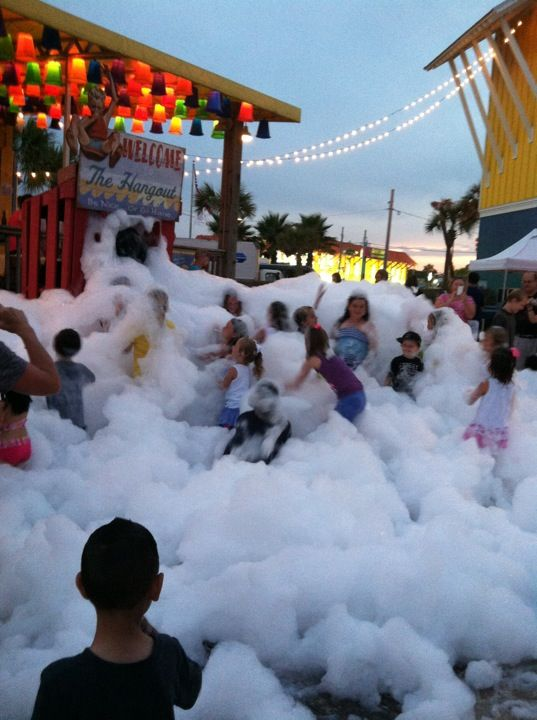The Hangout in Gulf Shores, AL  The kids just love the bubble machine. No door admission. Just good fun