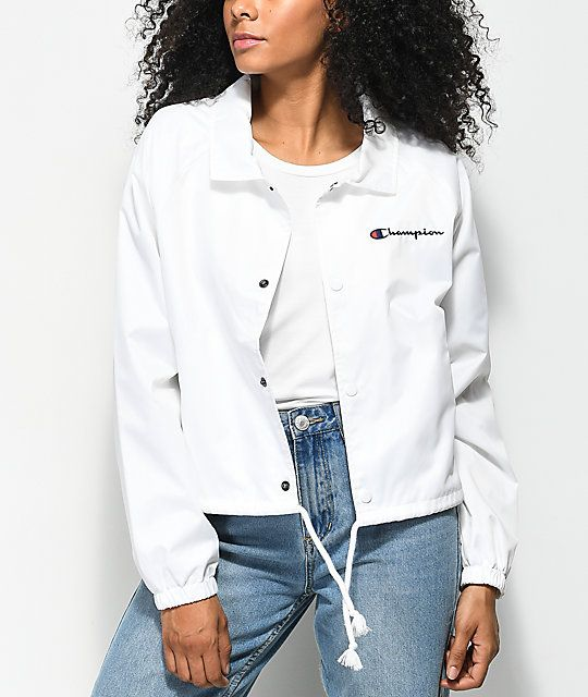 f434512626e Champion Crop White Coaches Jacket in 2019 | Not Any Type Of Clothes ...