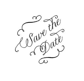 Calligraphy Save the Date Stamp WoodMounted by terbearco on Etsy, $19.99