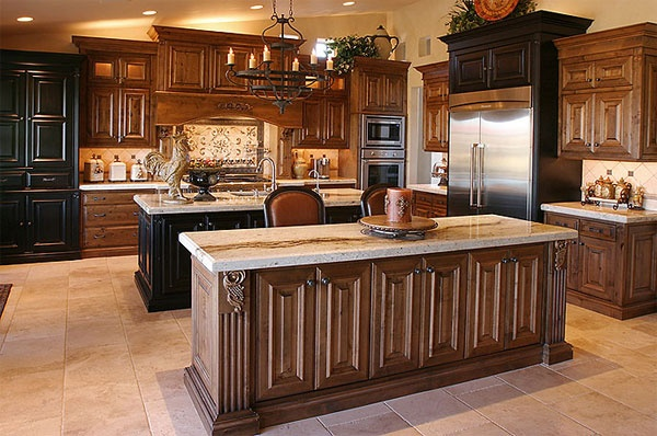 Grande kitchen black and brown wood cabinets double for Brown kitchen cabinets with black appliances