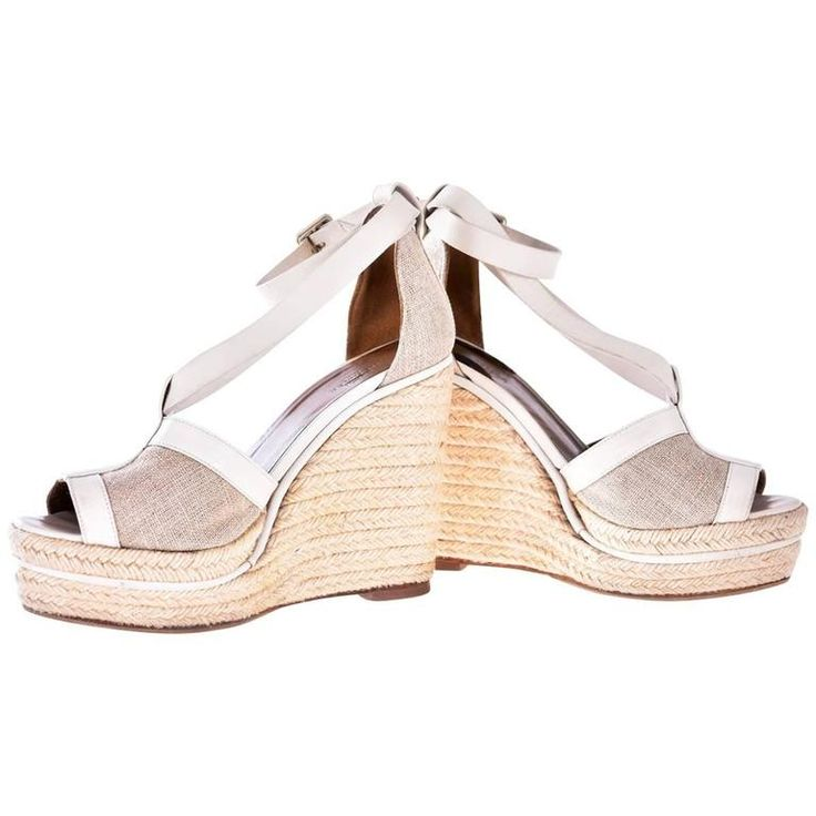 Hermes White and Beige Espadrille Chunky Wedge
