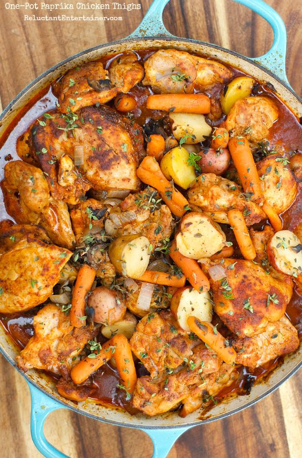 One-Pot Paprika Chicken Thighs   21 Delicious One-Pot Chicken Dinners