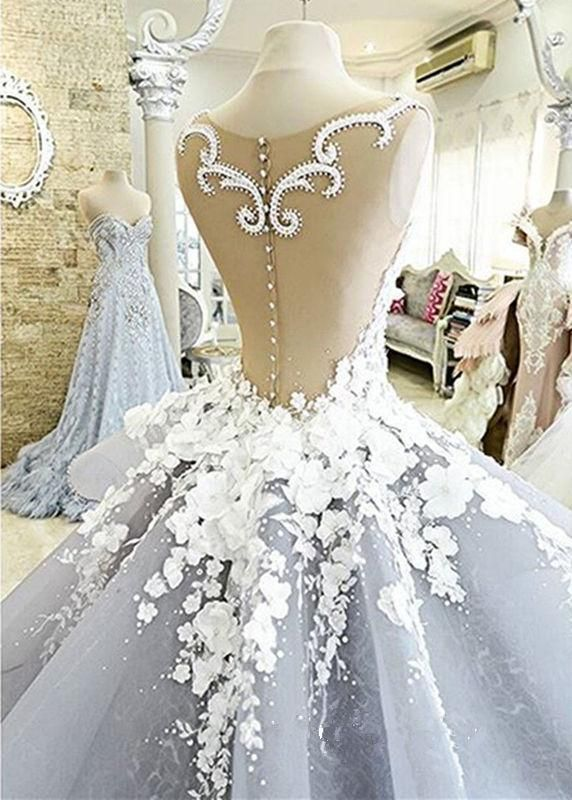 New Lace Empire Wedding Gowns Bridal Dresses Appliques Flowers Dress Custom Made