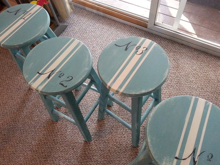 Hand Painted 'Beachy' Bar Stools —