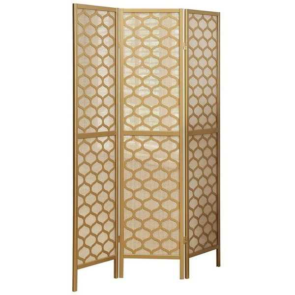 Monarch Honeycomb 3-Panel Screen Room Divider, Gold ($243) ❤ liked on - Best 25+ Folding Room Dividers Ideas Only On Pinterest Room