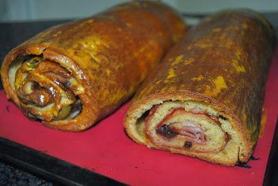 Pão, Bolos e Cia.: PAN DE JAMÓN - PÃO ENROLADO DE FIAMBRE, BACON, AZEITONAS E PASSAS