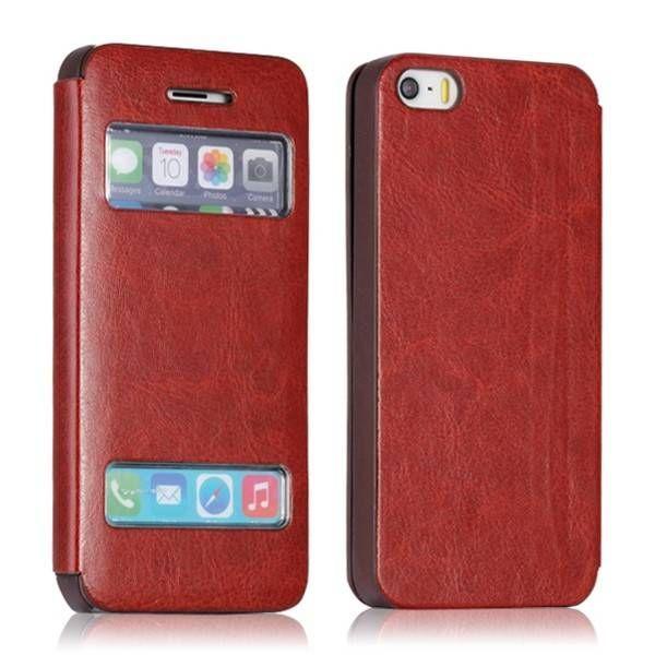iPhone 5 / 5s hoesje | sideflip bruin met display | verkrijgbaar op: http://www.telefoonhoesjestore.nl/bruin-leder-sideflip-hoesje-met-display-iphone-5.html