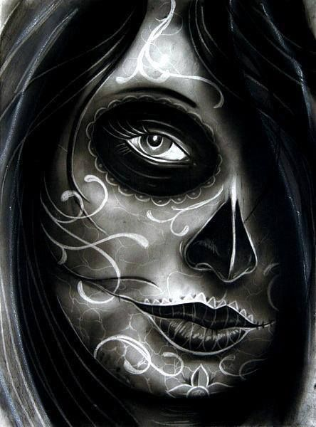 Randy Harris Airees Blues Tattoo Canvas Art Print Day of the Dead Skull NEW