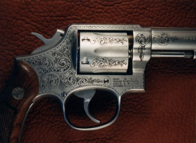 "engraving done by Jim Downing ""the Gun Engraver"":  Six-Gun, Revolver"
