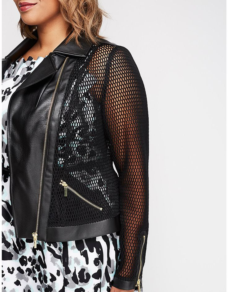 Mesh Moto Jacket by Christian Siriano | Lane Bryant