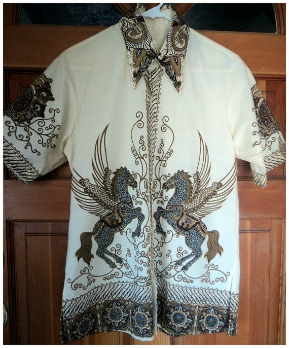 Vintage 70s Batik Shirt Men Pegasus Flying by caligodessvintage, $52.00