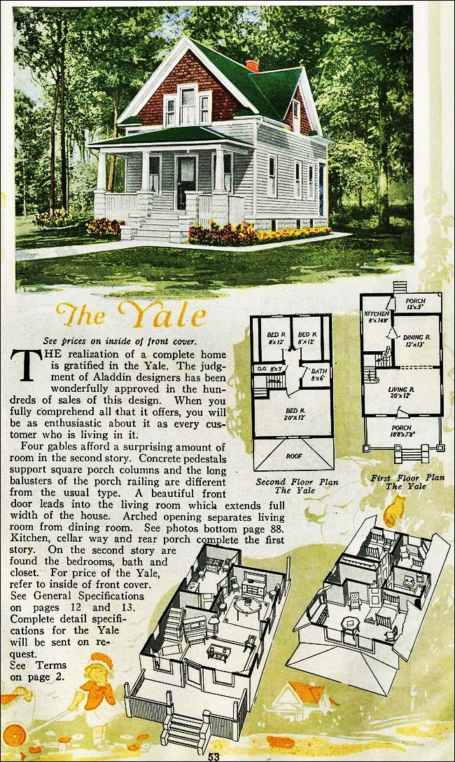 The Yale Kit House Floor Plan made by the Aladdin Company in Bay City Michigan in 1920 Vintage