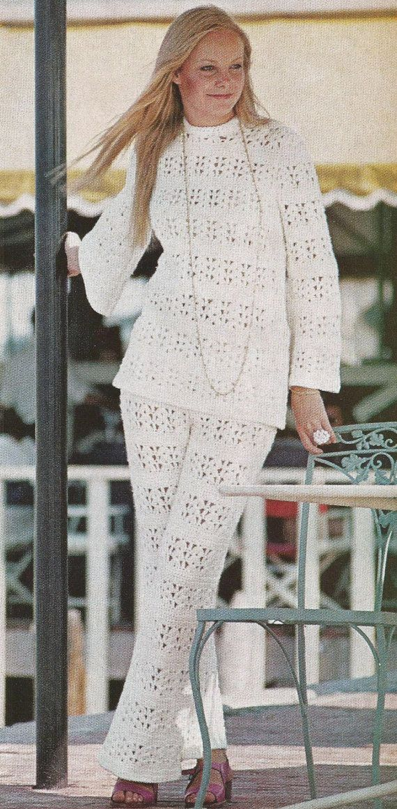 Instant PDF Download Old Vintage Retro Crochet Crocheted Instructions Pattern Patterns Lacy Clothes Pants Pant Top Tunic Suit