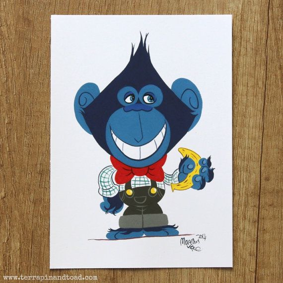 Nerdy chimp by #TerrapinAndToad. A fun, brightly coloured cartoon chimpanzee postcard. Perfect for teachers or your favourite nerd.